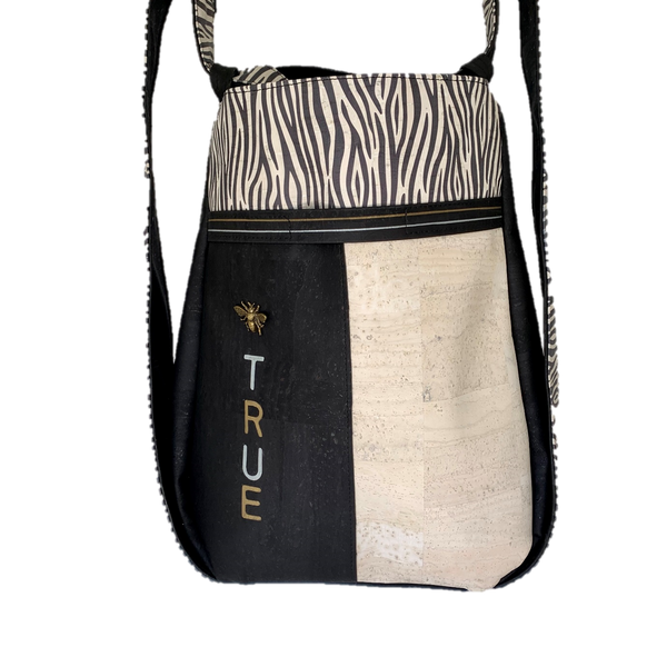 TOTEM Power Word Cork CONVERTIBLE Backpack/Shoulder Bag - Black&White Zebra/Black/Sea Sand (Reversible) *MADE TO ORDER