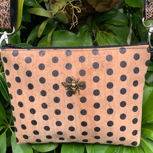 LIMITED Edition Cork Petite Clutch/Shoulder Bag - Polka Dot/Bee with Patent Snake Print Shoulder Strap *MADE TO ORDER