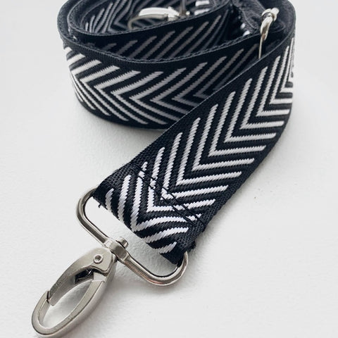 LIMITED Edition Crossbody/Shoulder Strap - Silver Chevron