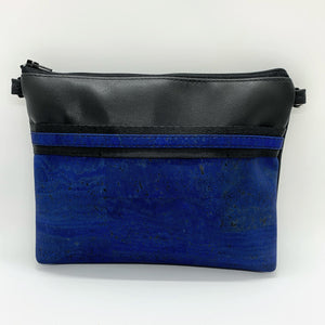 LIMITED Edition Cork & Cactus Petite Clutch/Shoulder Bag - Black/Cobalt Blue