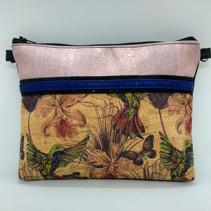 LIMITED Edition Cork Petite Clutch/Shoulder Bag - Soft Pink Rose Gold/Hummingbird