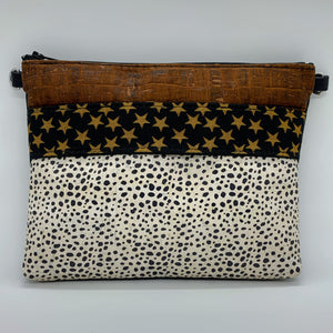 LIMITED Edition Cork Petite Clutch/Shoulder Bag - Paprika Croc/Spotted in Black & White