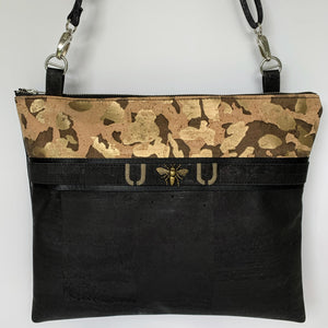 TOTEM Power Word Cork Crossbody LUXE Tote - Gold Camo/Black