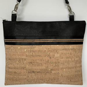 Cork Crossbody LUXE Tote with Sunglass Holder - Natural Gold Fleck/Black