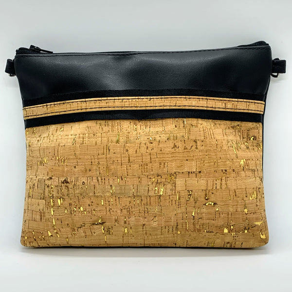 LIMITED Edition Cork & Cactus Petite Clutch/Shoulder Bag - Black/Natural Gold Fleck