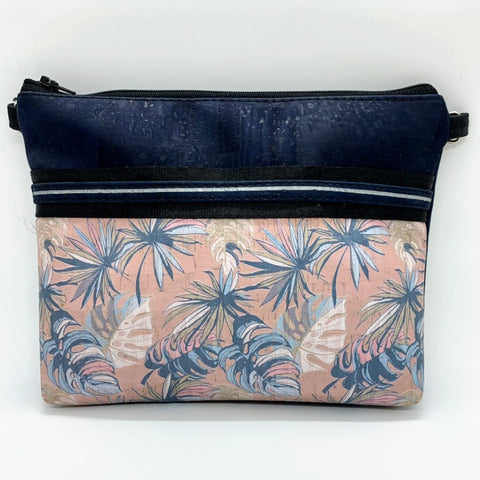 LIMITED Edition Cork Petite Clutch/Shoulder Bag - Navy/Pastel Tropical