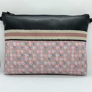 Cork & Cactus Crossbody Bag/Clutch - Black/Pastel Houndstooth/Pink Twill