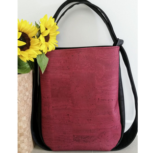 Cork CONVERTIBLE Backpack/Shoulder Bag - Black/Burgundy (Reversible) *MADE TO ORDER