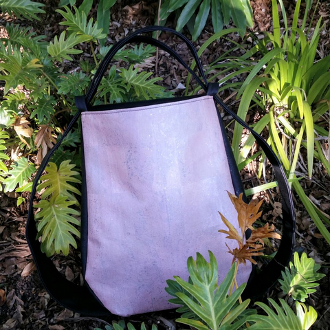Cork CONVERTIBLE Backpack/Shoulder Bag - Black/Soft Pink Rose Gold (Reversible) *MADE TO ORDER