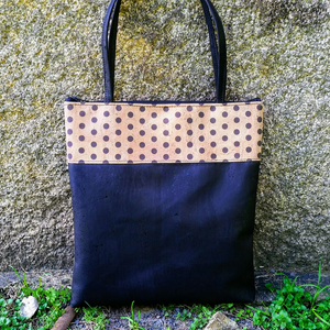 Cork Tote Bag - Black/Polka Dot *MADE TO ORDER