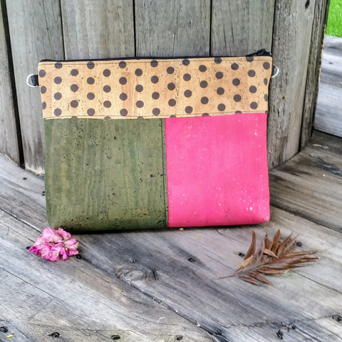 Cork Crossbody Bag/Clutch with 3 Panels-Polka Dot/Fuchsia/Olive Green *MADE TO ORDER