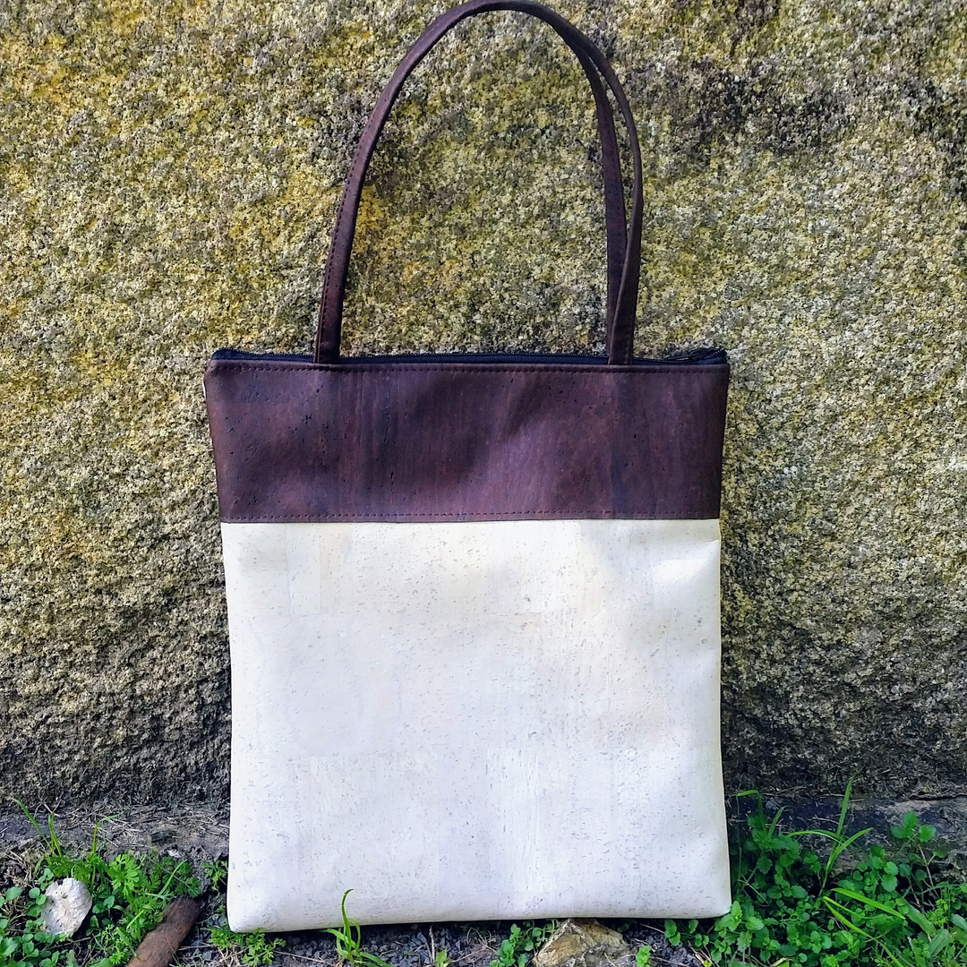 Cork Tote Bag - Sea Sand/Chocolate *MADE TO ORDER