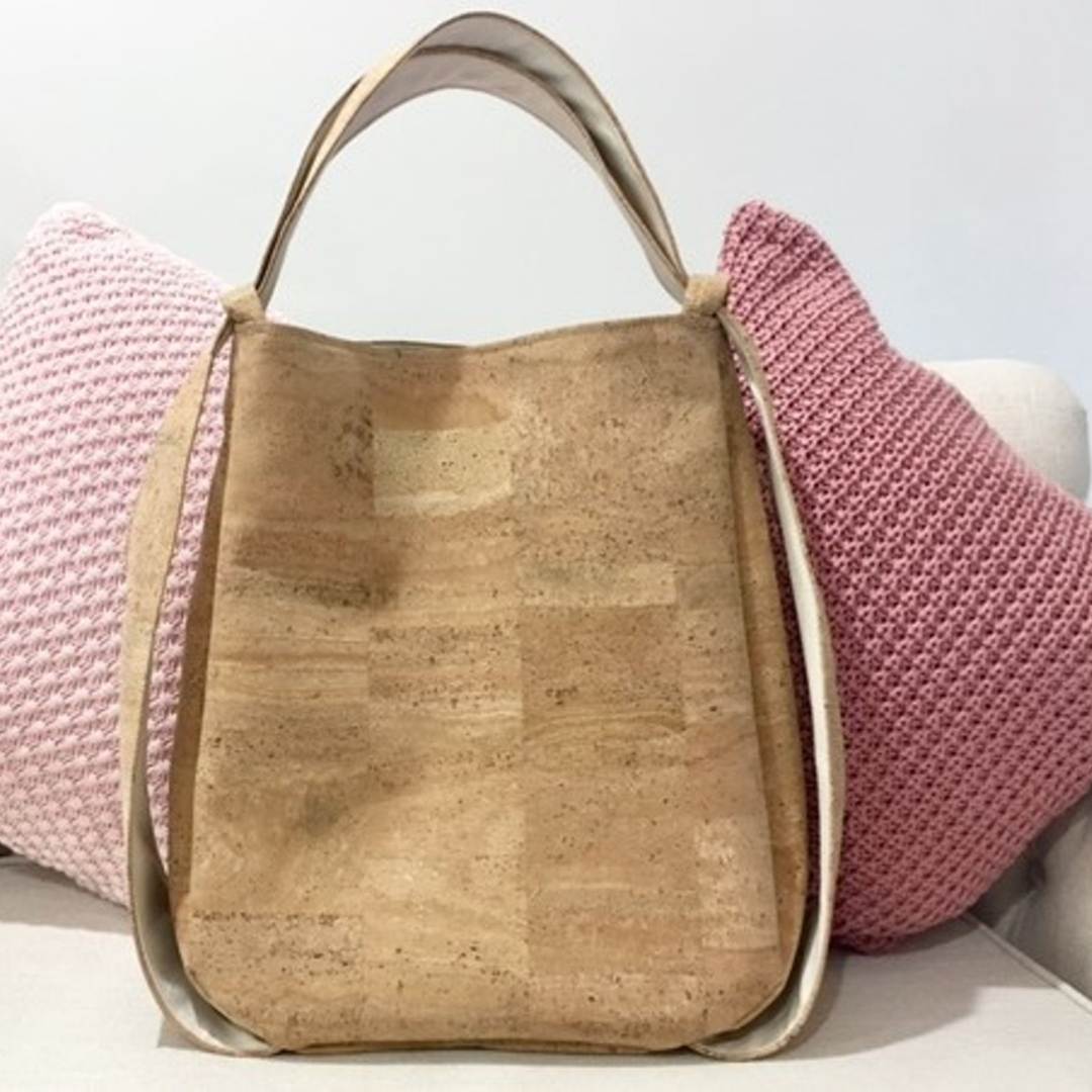 Cork CONVERTIBLE Backpack/Shoulder Bag - Natural/Sea Sand (Reversible) *MADE TO ORDER