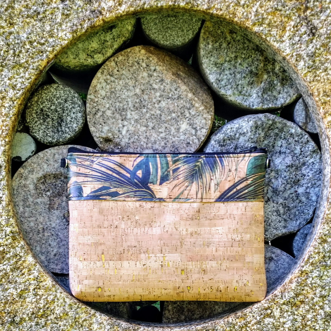 Cork Crossbody Bag/Clutch - Tropical Leaf/Natural Gold Fleck *MADE TO ORDER