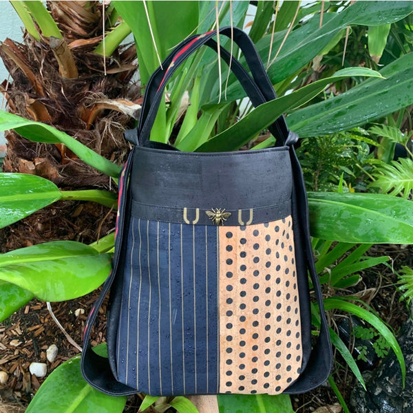 TOTEM Power Word Cork CONVERTIBLE Backpack/Shoulder Bag - Black/Navy Pinstripe/Polka Dot/Bees (Reversible)