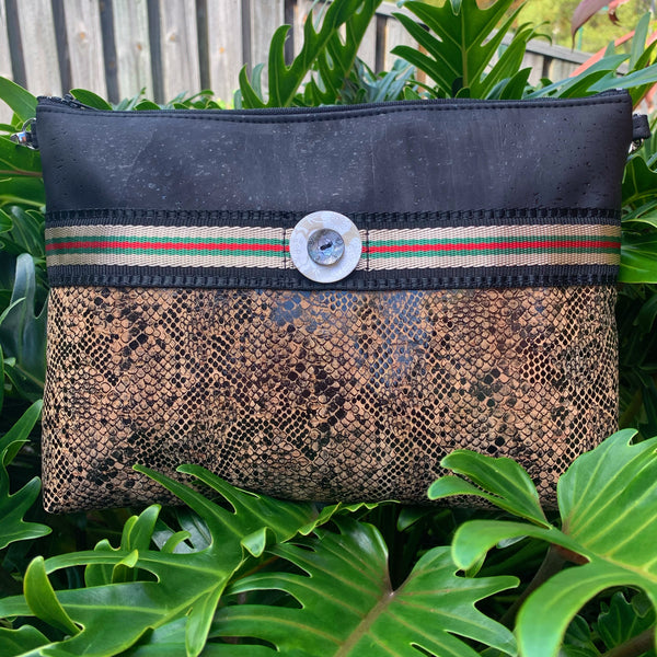 Cork Crossbody Bag/Clutch - Black/Patent Snake Print/Metallic Euro Stripe