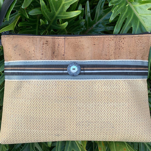 Cork Crossbody Bag/Clutch - Cinnamon/Latte Herringbone/Powder Blue