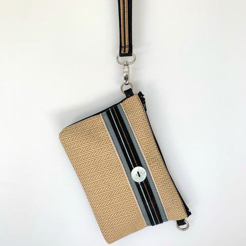 Cork Maxi Wristlet/Crossbody - Latte Herringbone