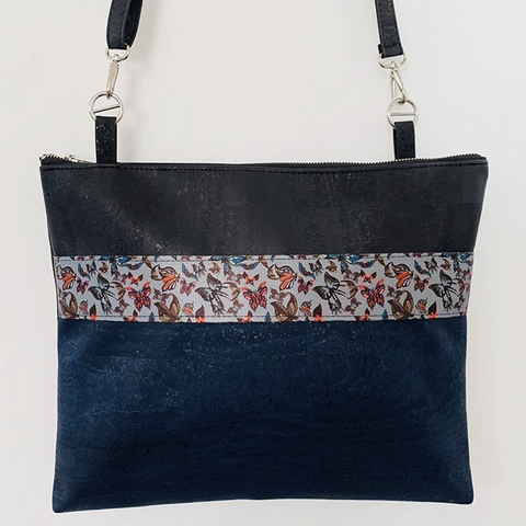 Cork Crossbody LUXE Tote - Black/Navy with Butterfly Contrast Strip