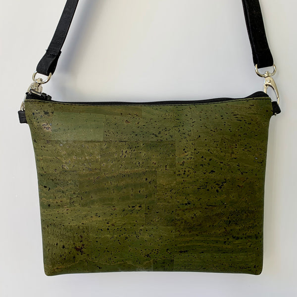 Cork Petite Clutch/Shoulder Bag - Olive Green *MADE TO ORDER
