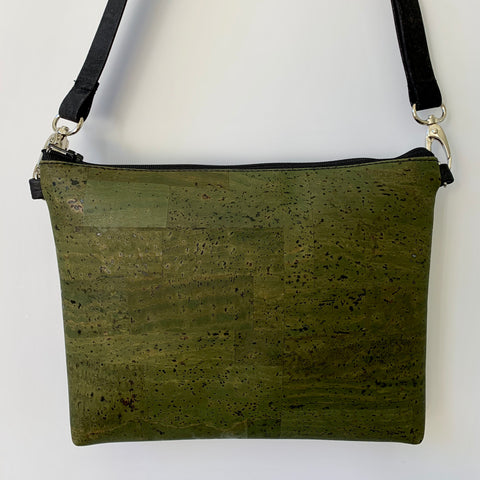 Cork Petite Clutch/Shoulder Bag - Olive Green