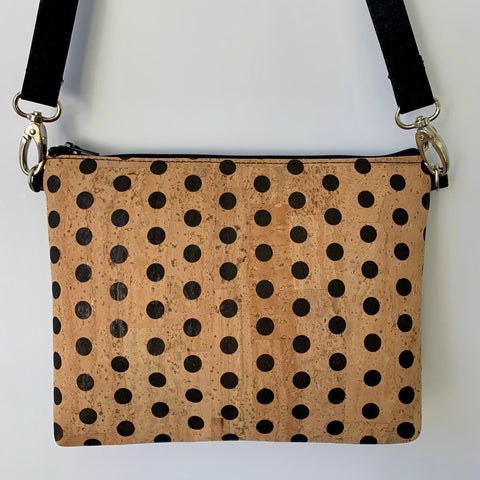 Cork Petite Clutch/Shoulder Bag - Polka Dot/Black