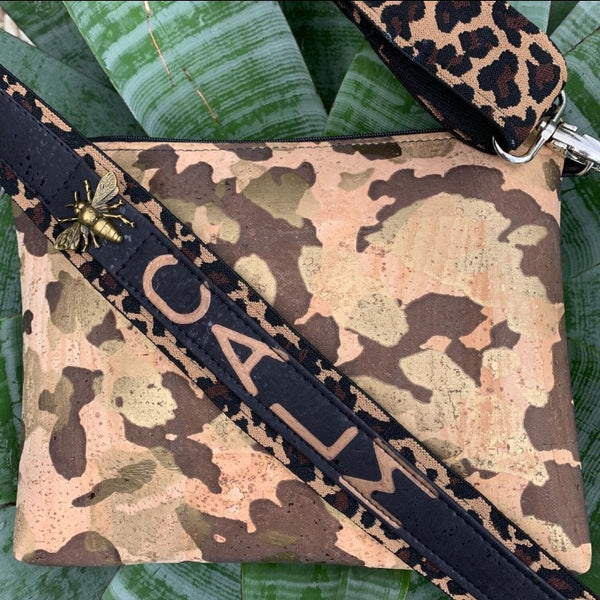 TOTEM Power Word CORK Petite Clutch/Shoulder Bag - Gold Camo with Customised Shoulder Strap *MADE TO ORDER