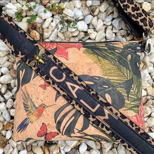 TOTEM Power Word CORK Petite Clutch/Shoulder Bag - Floriana with Customised Shoulder Strap *MADE TO ORDER