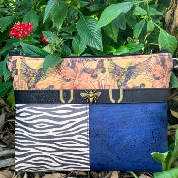 TOTEM Power Word CORK Crossbody/Clutch with 3 Panels - Hummingbird/Black&White Zebra/Cobalt *MADE TO ORDER