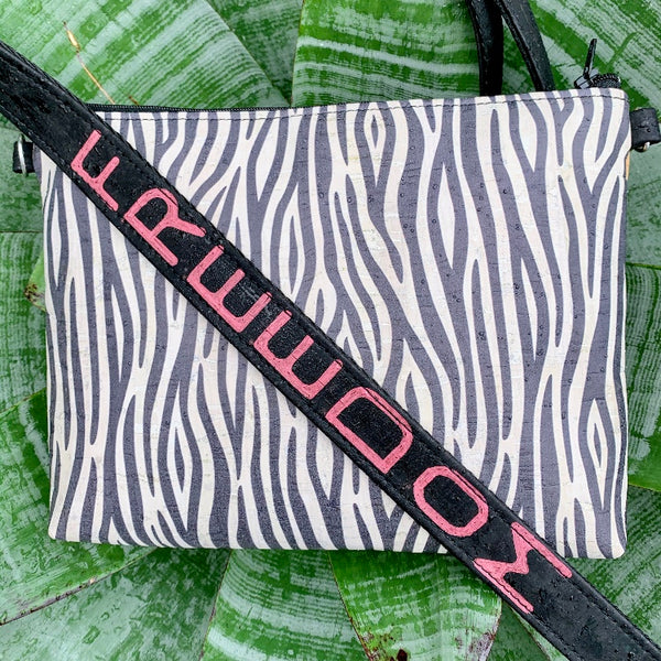 TOTEM Power Word CORK Petite Clutch/Shoulder Bag - Black & White Zebra with Customised Shoulder Strap *MADE TO ORDER