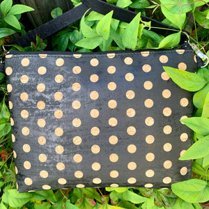 LIMITED Edition Cork Petite Clutch/Shoulder Bag - Black Natural Polka Dot *MADE TO ORDER