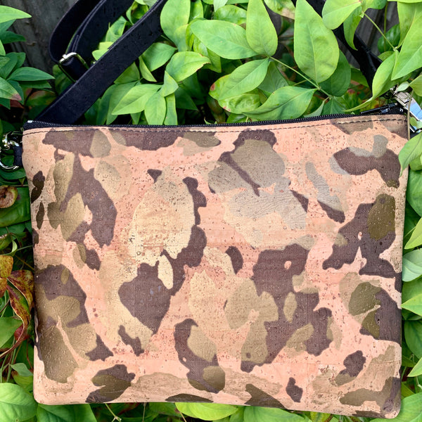 LIMITED Edition Cork Petite Clutch/Shoulder Bag - Gold Camo *MADE TO ORDER