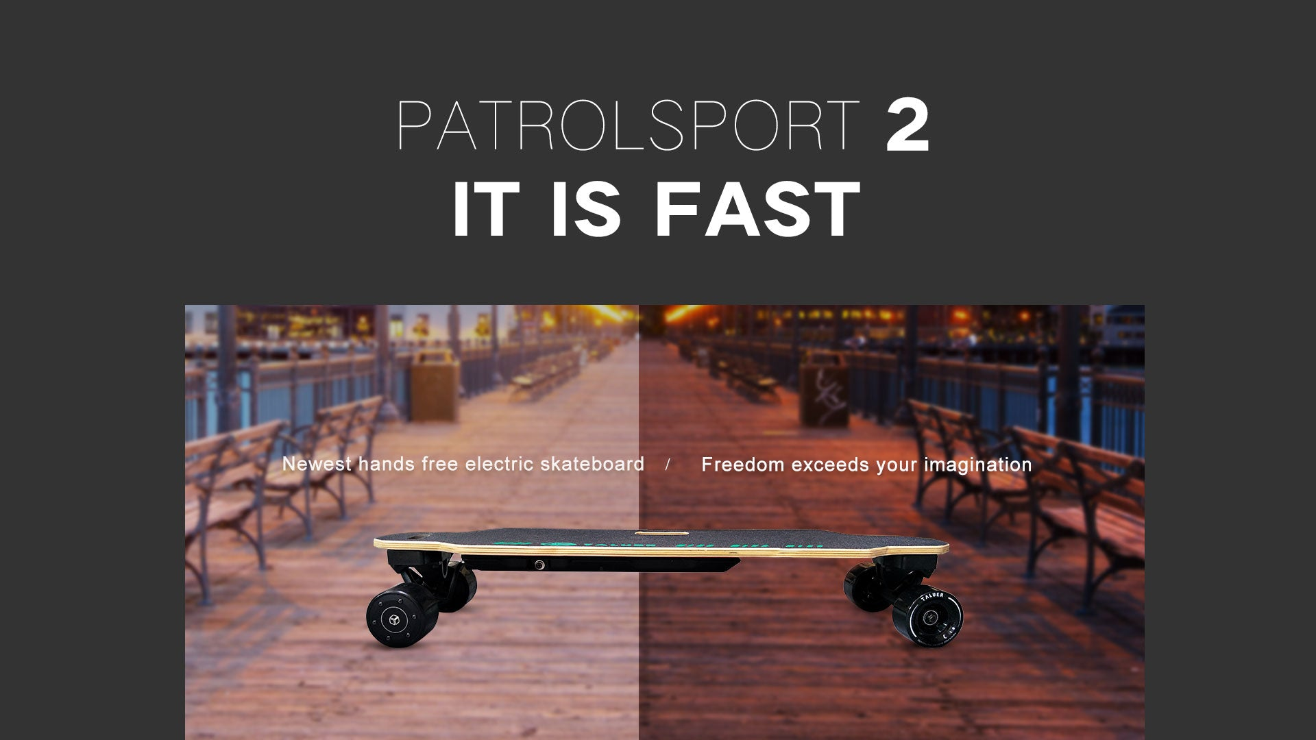 electric skateboard with slogan