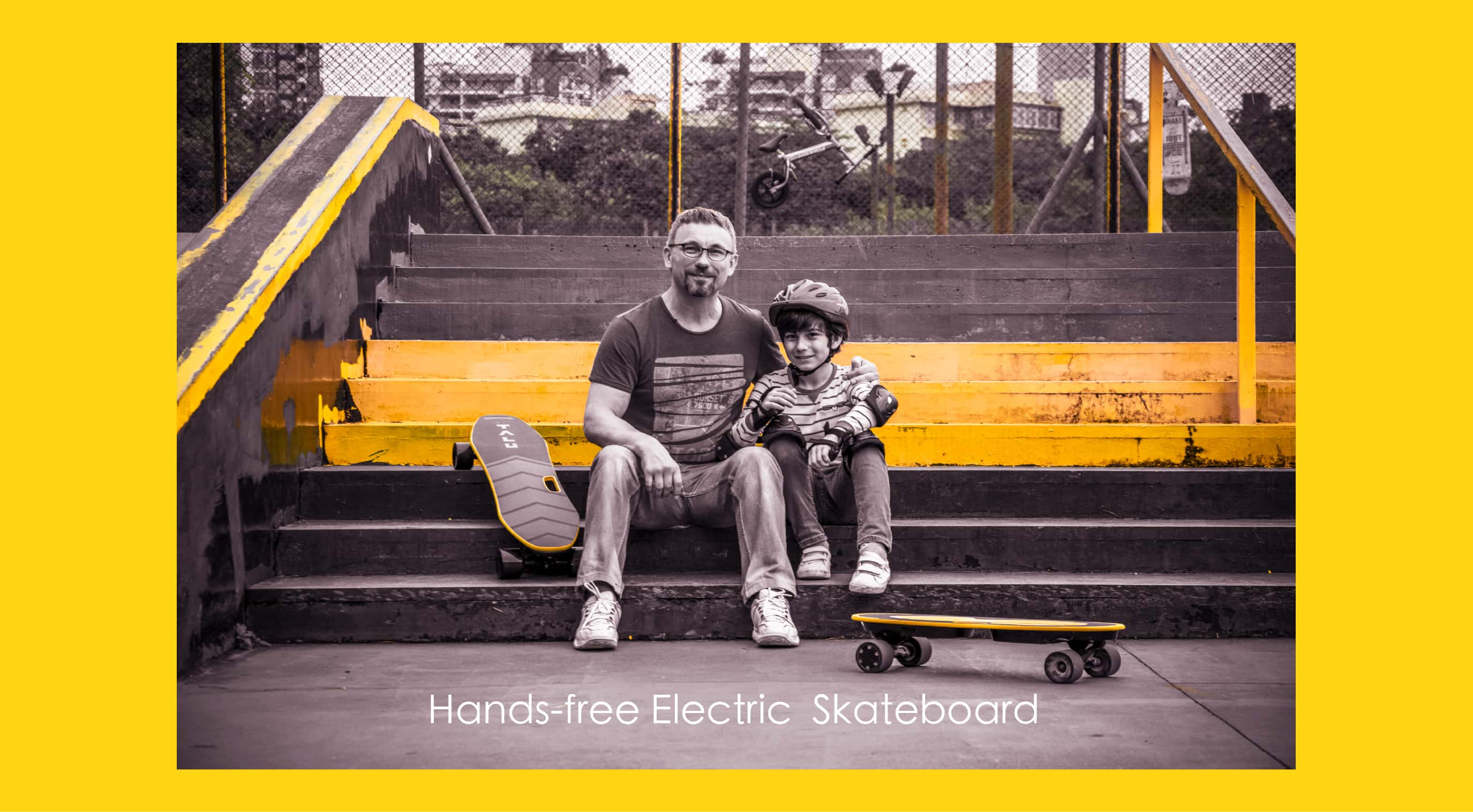 father and son with skateboards