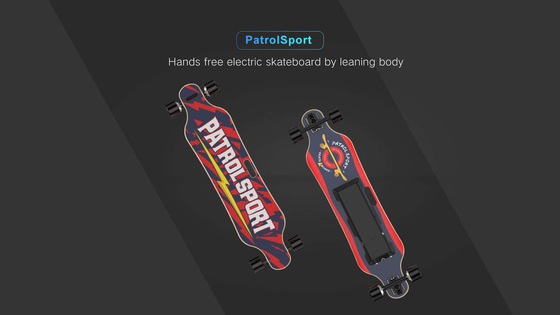 red electric skateboard front and back