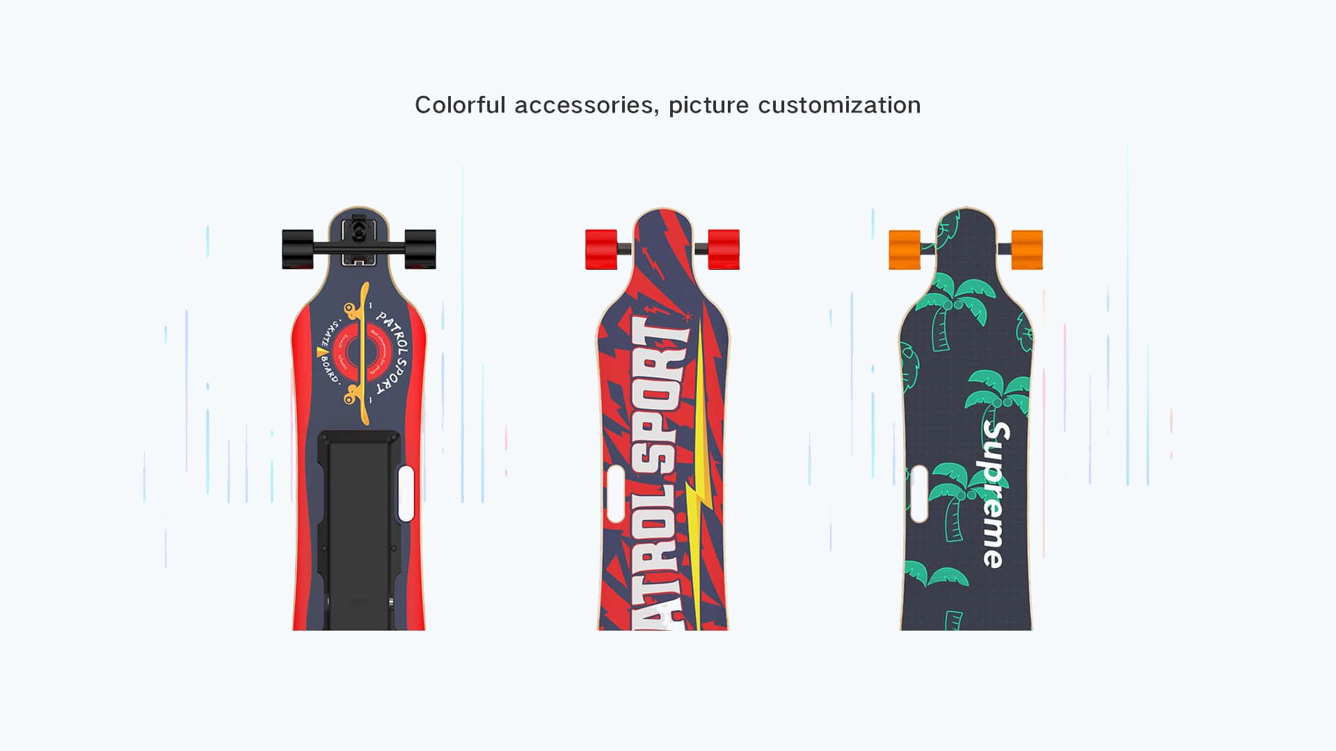 electric longboards with colorful decks