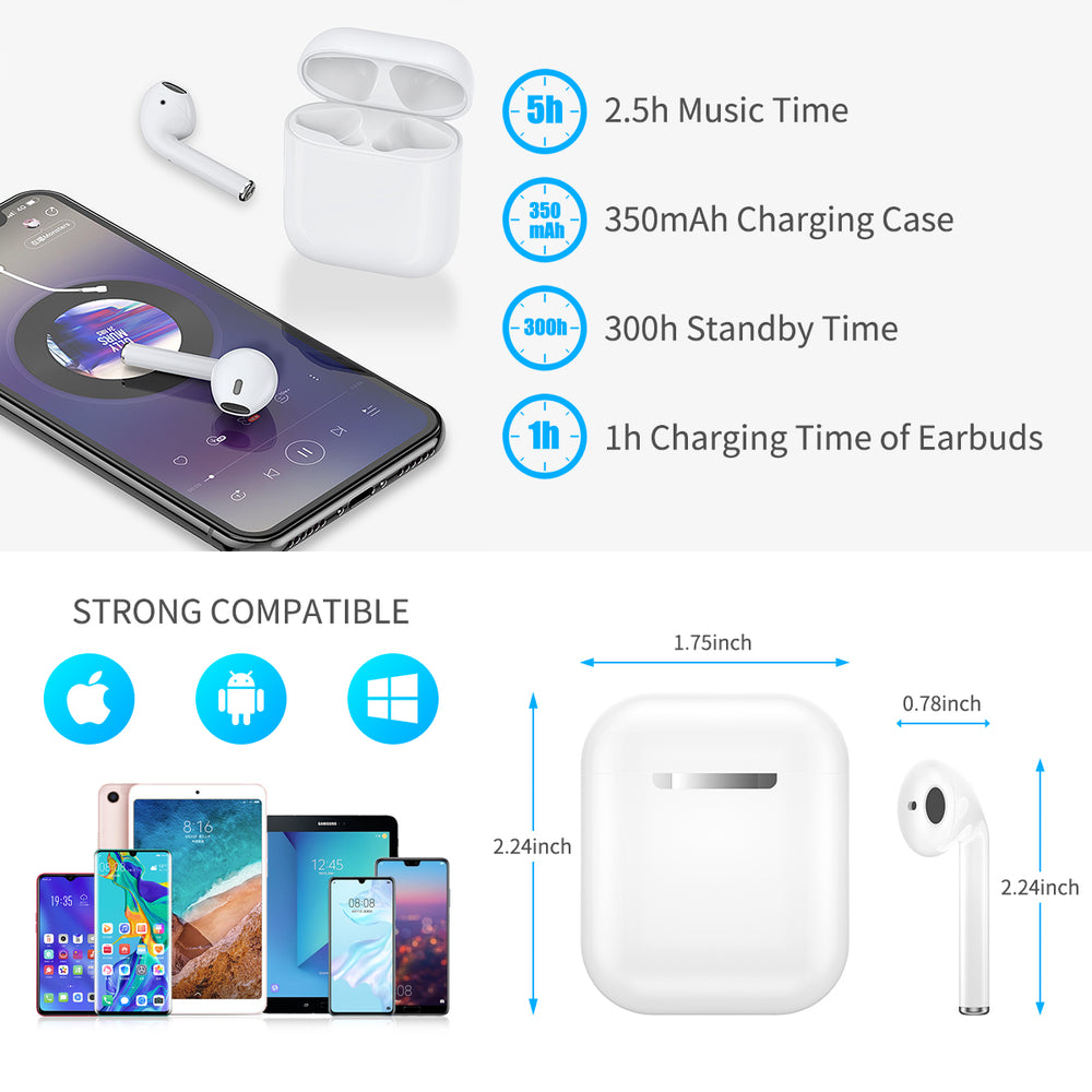 GM TWS i12 Touch Bluetooth Earphones, HD Stereo Wireless Headphones,Noise Cancelling Music Gaming Headset with FREE Case