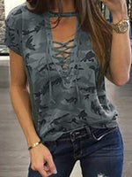 V-Neck Lace-Up Camouflage Short-Sleeved T-Shirt