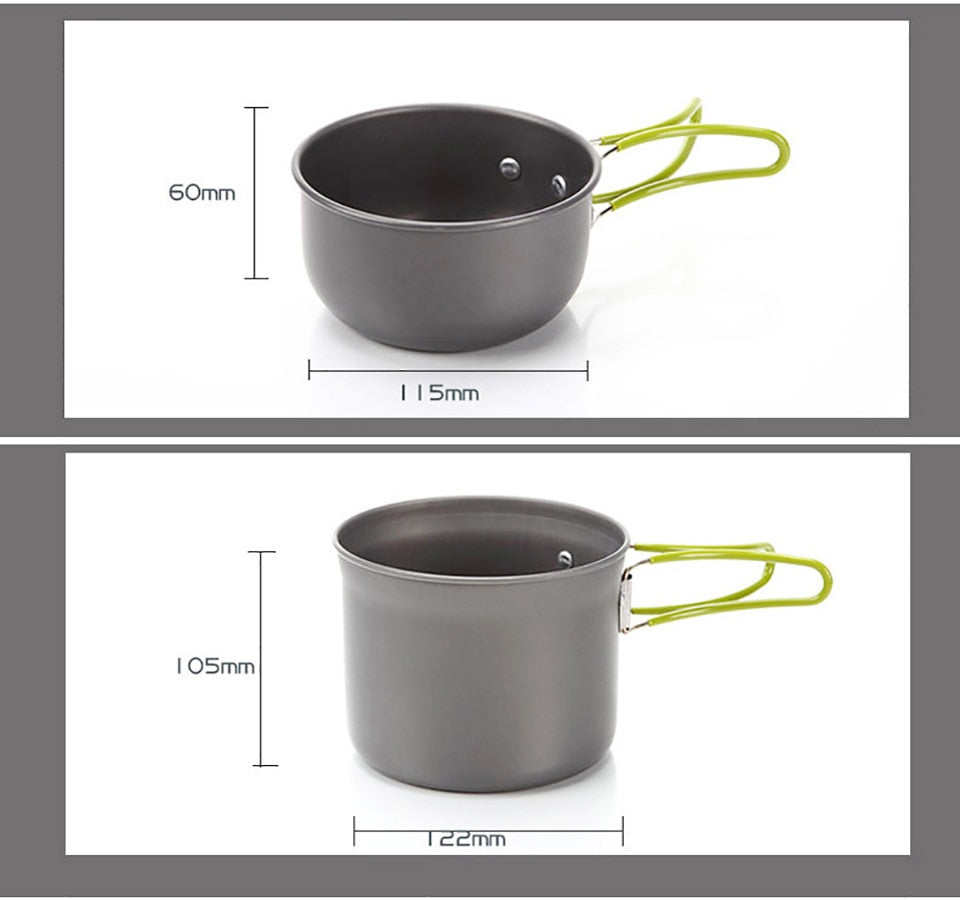 10 pcs/set Outdoor Camping Hiking Tableware Aluminium Alloy Cookware Cooking Picnic Traveling Bowl Pot Pan Set