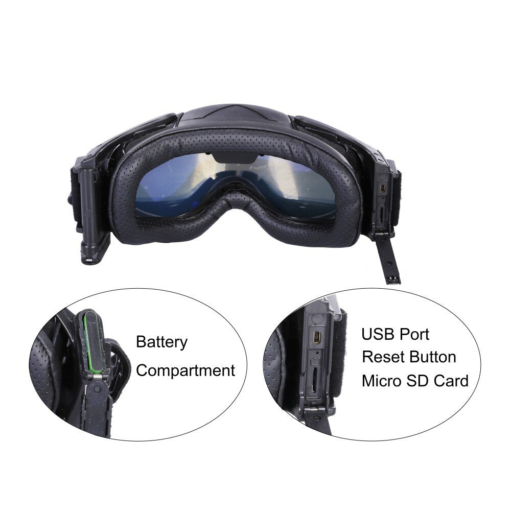 HD Ski-Sunglass Goggles WIFI Camera & Colorful Double Anti-Fog Lens for Ski with Free APP Live Image Video Monitoring