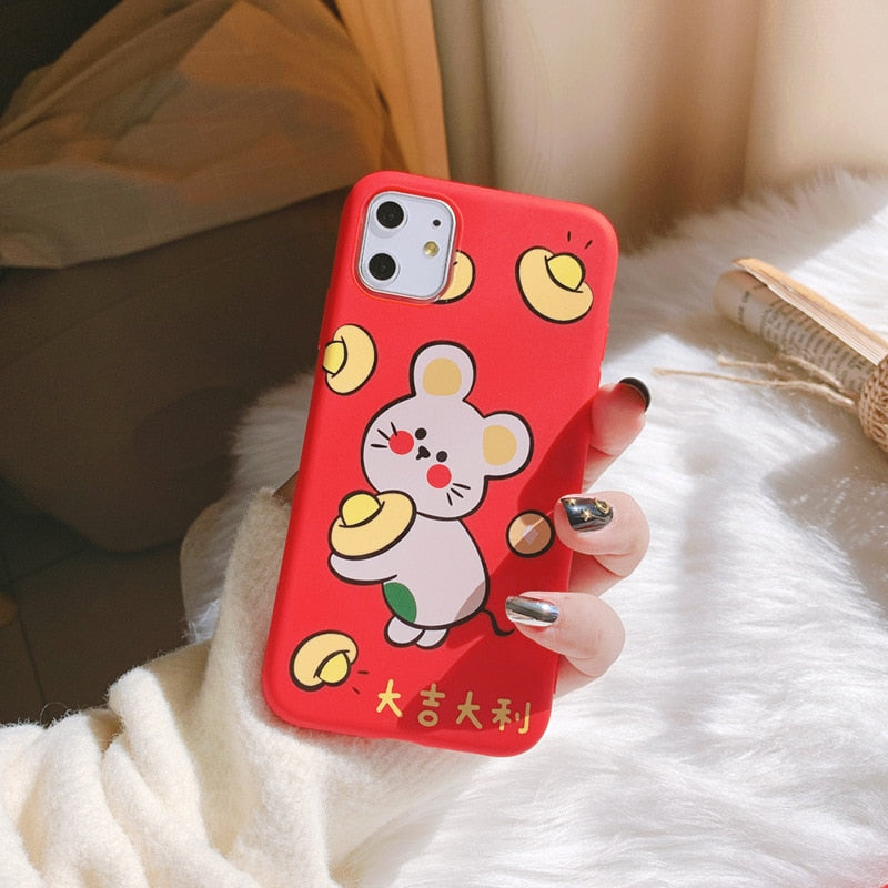 2020 New Year Red Great Luck Mouse Case For iPhone 11 11PROMAX 11PRO 7 8  7Plus 8Plus X XS XSMAX XR High Quality Soft Case Cover
