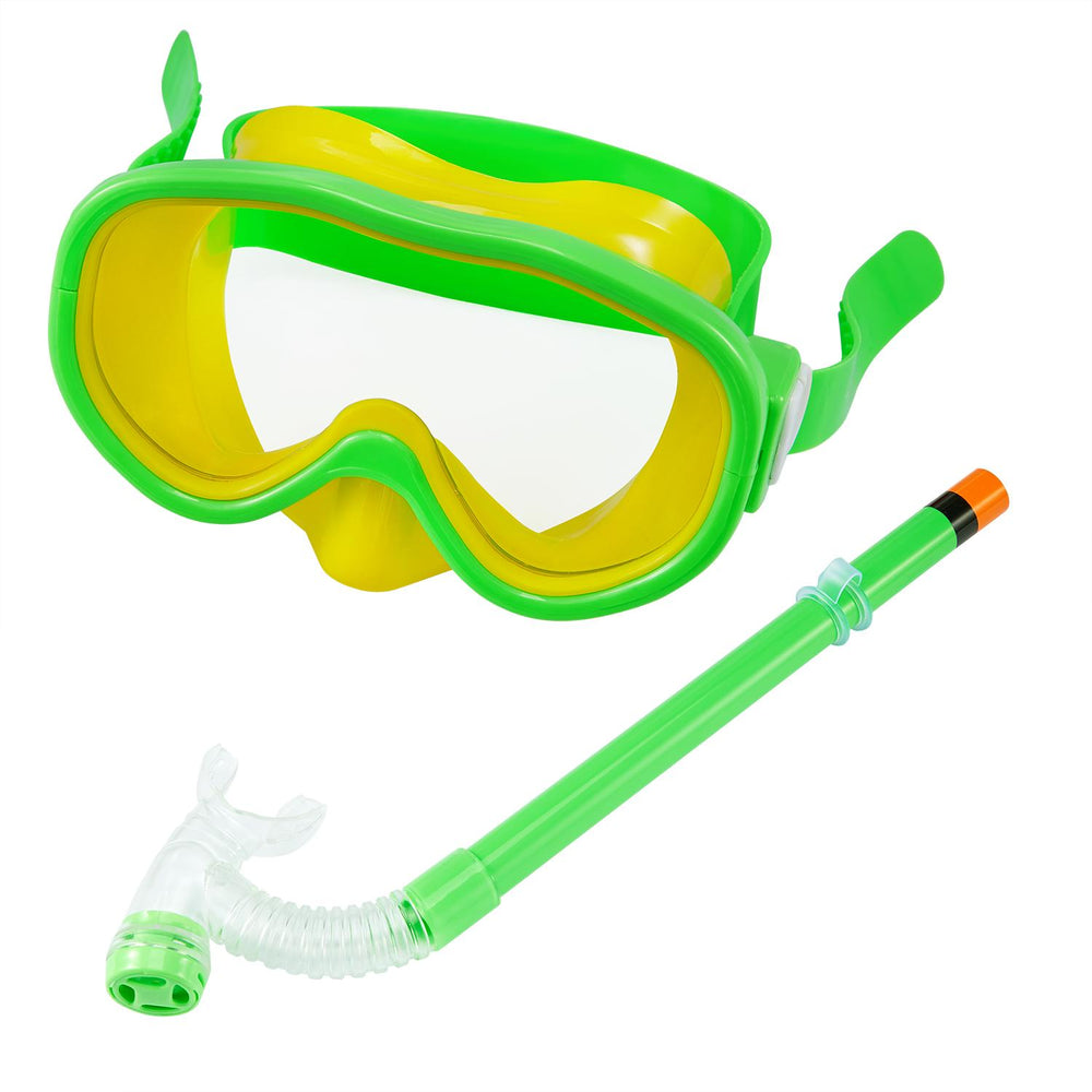 Pikewear Children Snorkel Set, Kids Swimming Goggles Semi-dry Snorkel Equipment with Breathing Tube for Boys and Girls Advanced Snorkeling Gear 5 to 8 Years Old