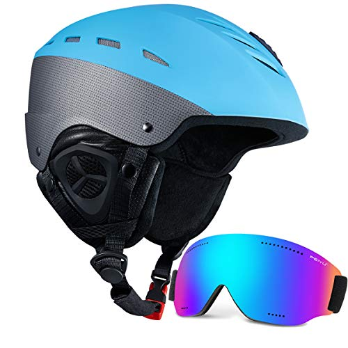 KUYOU Ski Helmet Snow Goggles Adult Lightweight Convertible Snowmobile Snowboard Helmet for Women & Men