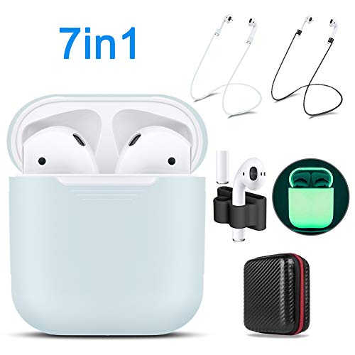 AirPods Case Cover,7 in 1 AirPods Accessories Silicone Airpods Protective Cover Set Bag