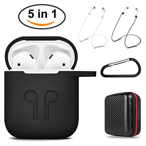 Airpods Protective case with Strap Silicone Cover Keychain Strap for Apple Airpod Accessories - Red by GIM