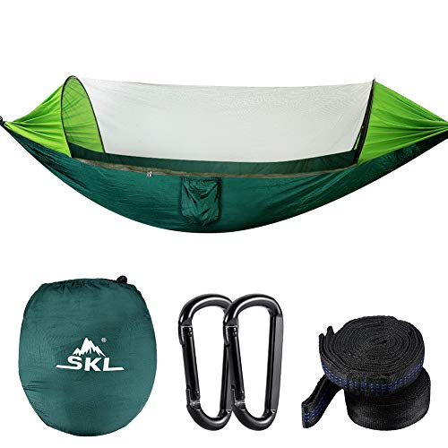 SKL Camping Hammock with Mosquito Net Lightweight Portable Parachute Nylon Double Sleeping Hammock for Outdoor Backpacking Hiking Travel - Hammock Tree Straps, Carabiners & Carrying Bag Included