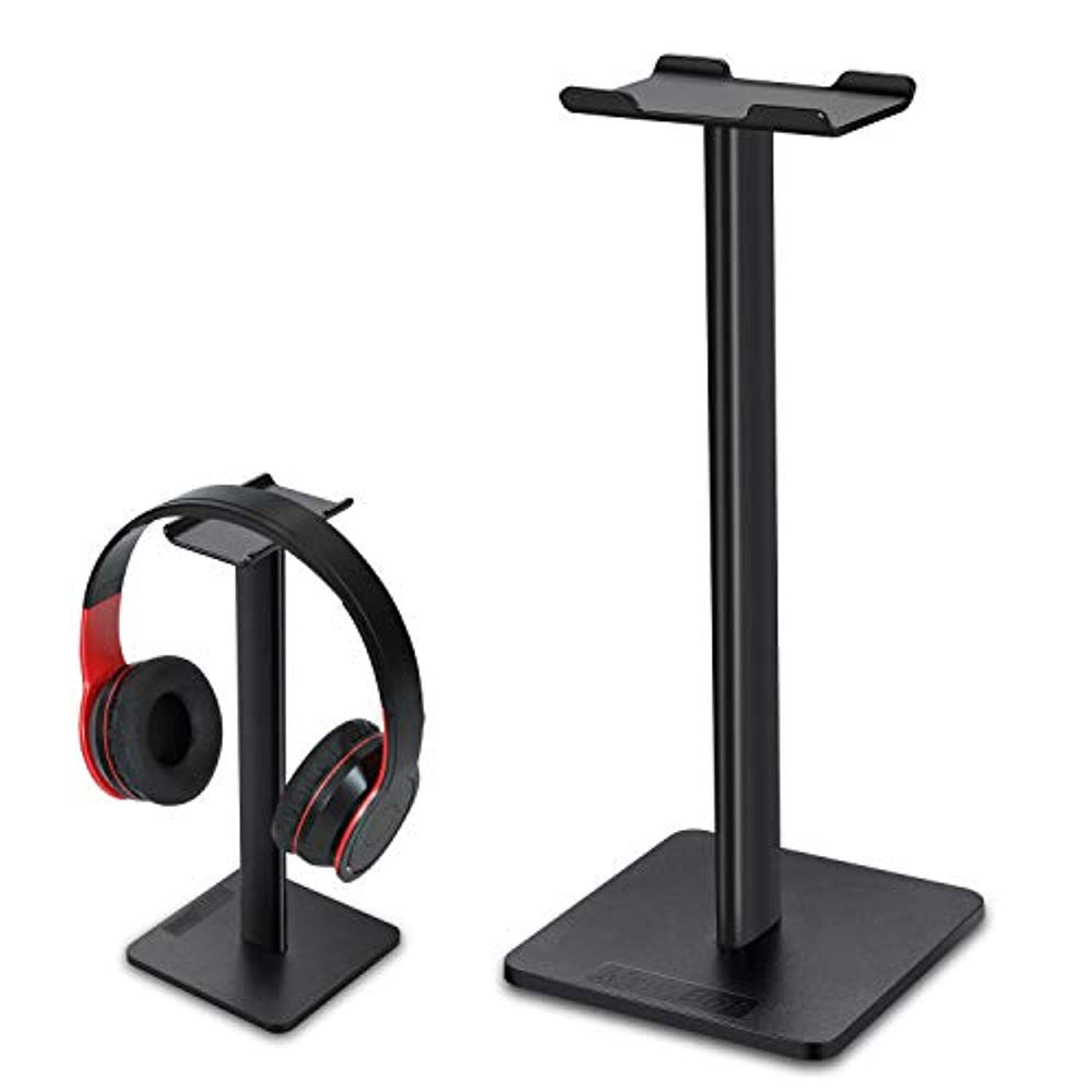 Headphone Stand Headset Holder Earphone Stand with Aluminum Bar ABS Solid Base for All Headphones Size (Black1)