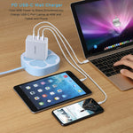 Grandstar USB Charger 60W - 3 Port USB C Power Delivery Wall Charger with QC 3.0 and Foldable Plug