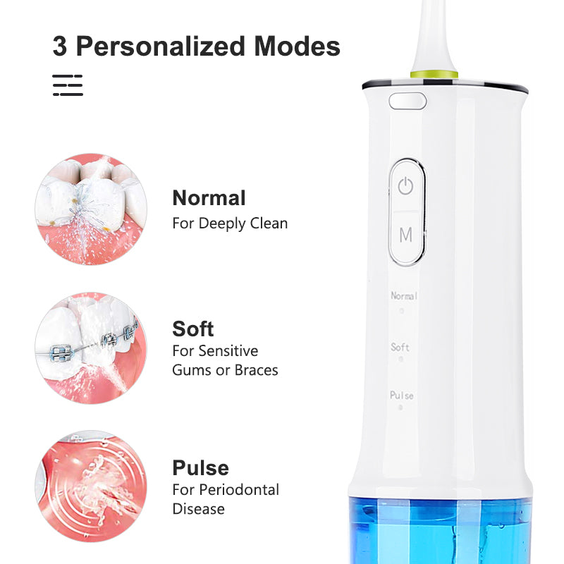 portable cordless 360 degrees oral care dental water jet teeth flosser with 3 modes