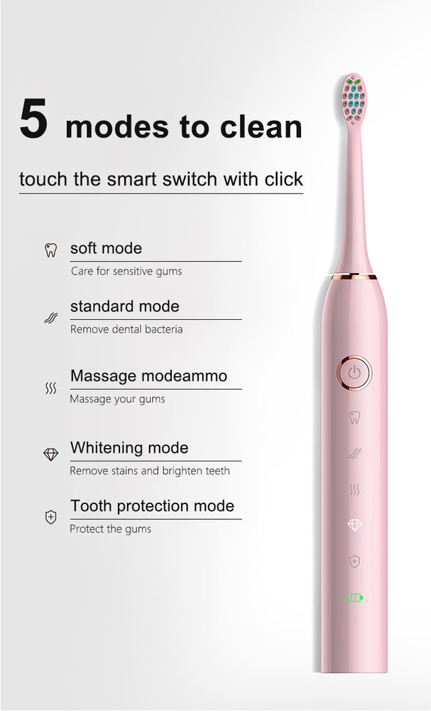 2 Mins Smart Timer 5 mode smart Sonic whitening Electric Toothbrush USB Rechargeable with 2 Replacement Brush Heads and led indicator